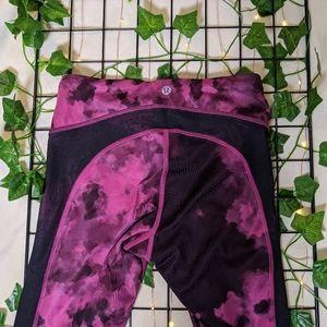Lululemon Cropped Pink/Black Leggings